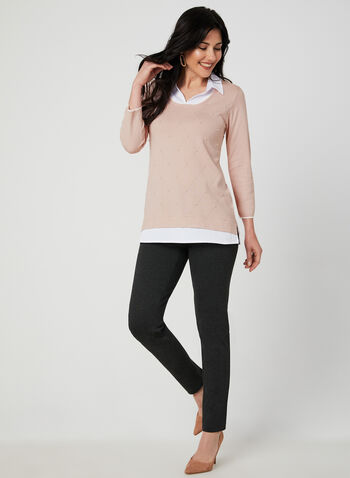 Pantalon pull-on coupe cité , Gris,  pantalon, pull-on, cité, faux boutons, point de Rome, automne hiver 2019