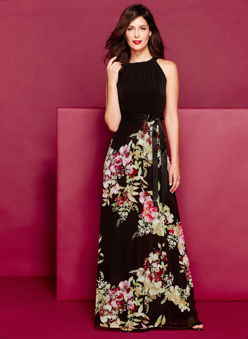 Tuck Neck Floral Print Maxi Dress, Black, hi-res