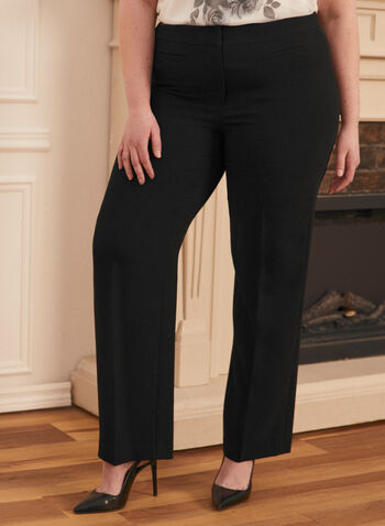 Modern Fit Wide Leg Pants, Black,  pants, wide leg, modern fit, pleated, straight leg, made in Canada, mid rise, pleat, comfort, stretch, spring summer 2021