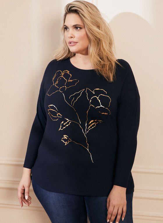 Metallic Floral Print T-Shirt, Blue