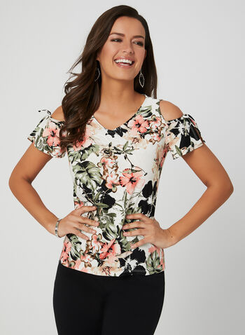 Floral Print Cold Shoulder Top, Green, hi-res