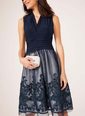Soutache Lace Cocktail Dress, Blue, hi-res