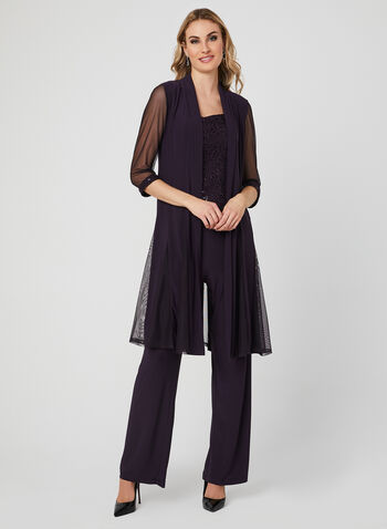 Three Piece Sequin Lace Pantsuit, Purple, hi-res