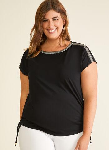 T-shirt à détails ornementés et liens, Noir,  t-shirt, col ornementé, manches courtes, liens, jersey, printemps été 2020