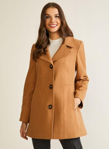Manteau structuré en molleton, Brun,  automne hiver 2020, manteau, structuré, molleton, laine, boutons, poches