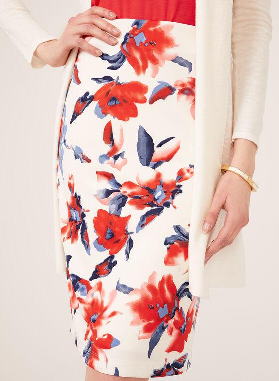 Jupe crayon pull-on motif floral, Blanc, hi-res