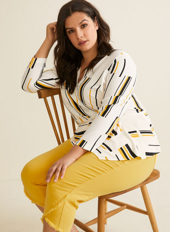 Geometric Print Faux Wrap Blouse, White,  top, blouse, crepe, long sleeves, v-neck, wrap, wavy, geometric print, spring summer 2020