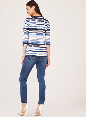 ¾ Sleeve Stripe Top, Blue, hi-res