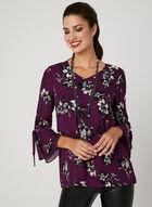 Floral Print Tunic Blouse, Purple, hi-res