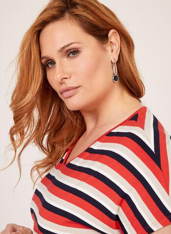 Stripe Print T-Shirt, Red, hi-res