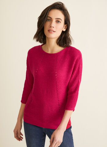 3/4 Dolman Sleeve Knit Sweater, Pink,  knit, sweater, dolman sleeves, 3/4 boat neckline, ribbed borders, spring 2020