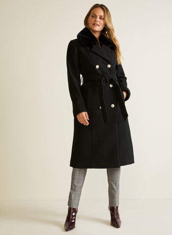 Long Stretch Trench Coat, Black,  fall winter 2020, coat, trench, notch collar, removable faux fur, detachable, double breasted, button, pocket, tie waist belt, stretch, long, satin lining, winter, warm