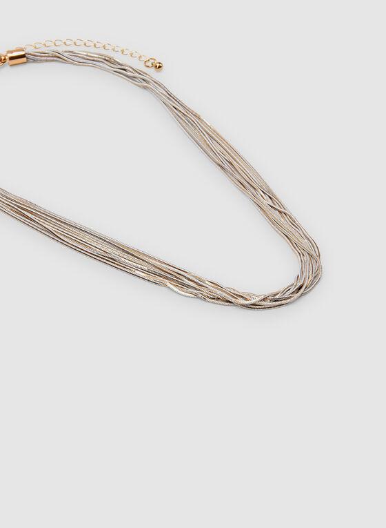 Multi-Row Chain Necklace, White, hi-res