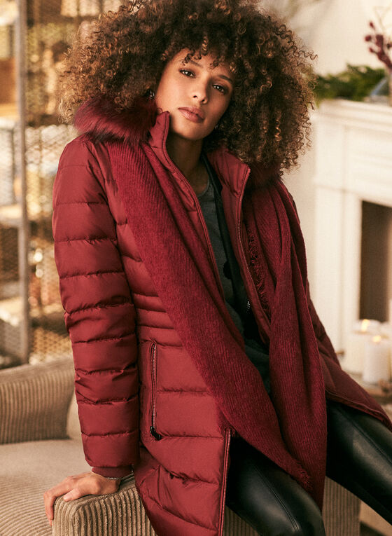 Down Blend Quilted Coat, Red