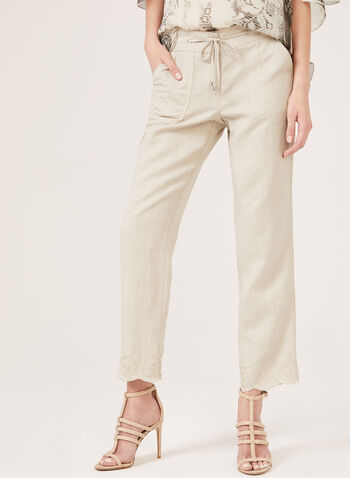 Modern Fit Linen Blend Pants, Brown, hi-res
