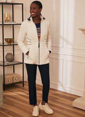 Novelti - Manteau matelassé à détails contrastants, Gris,  manteau, matelassé, diamant, contrastant, poche, zip, printemps été 2020