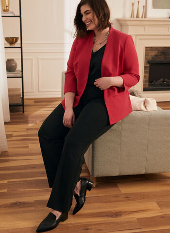 Open Front 3/4 Sleeve Blazer, Pink,  blazer, open front, long sleeves, shoulder pads, crepe, spring 2020