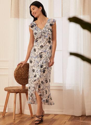 Robe fleurie faux portefeuille, Blanc,  robe de jour, portefeuille, volants, mousseline, fleurs, printemps été 2020