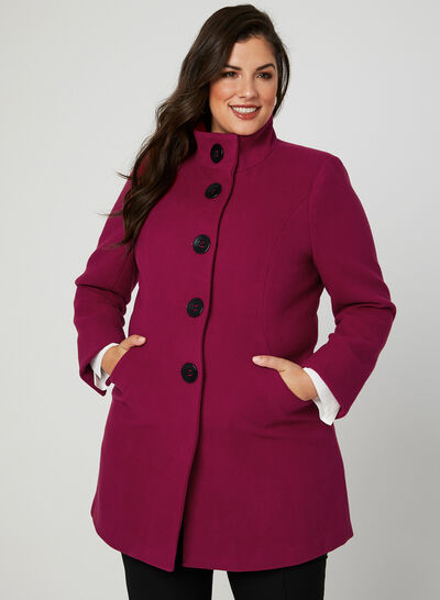 Faux Wool Stand Collar Coat