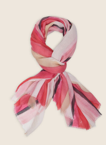 Striped Lightweight Scarf, Pink,  scarf, lightweight, fringe, stripes, spring summer 2020