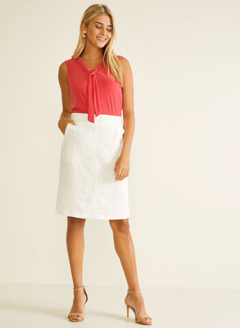 Linen Blend Straight Skirt, White,  skirt, straight, linen, spring summer 2020