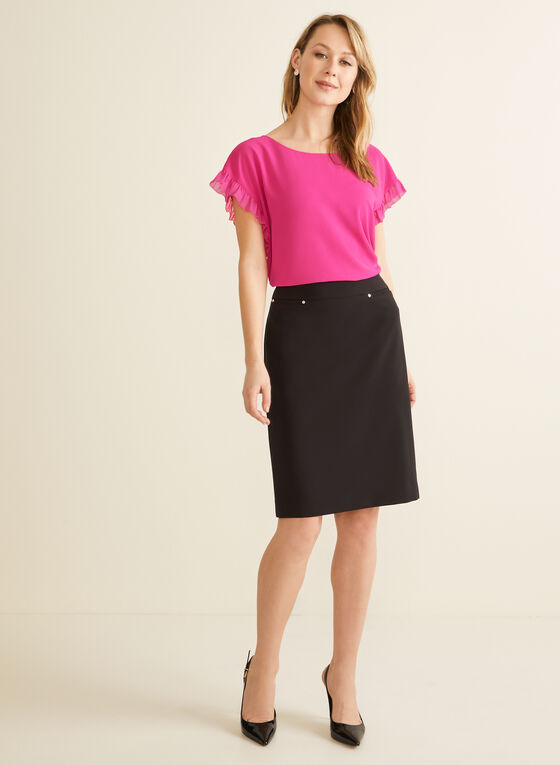 Short Sleeve Crepe Blouse, Pink