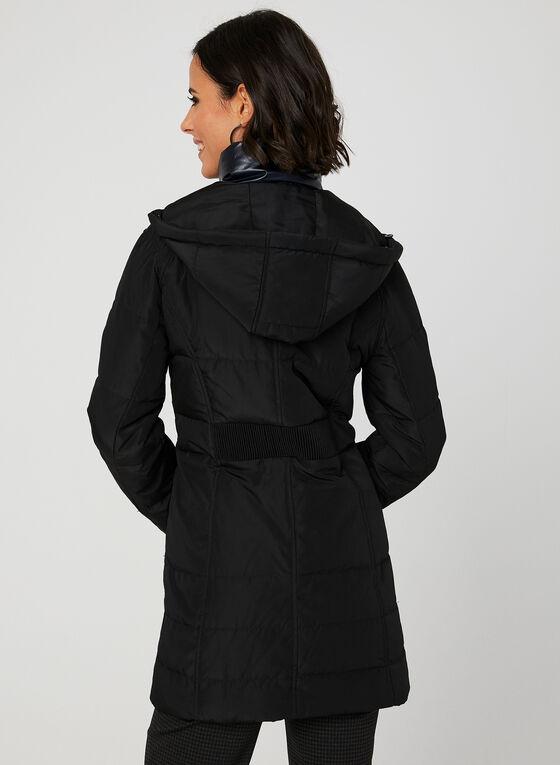 Manteau en duvet à fausse fourrure, Noir