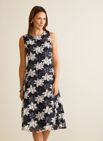 Floral Fit & Flare Dress, Blue,  day dress, sleeveless, lace, floral, scoop neck, v-back, spring summer 2020