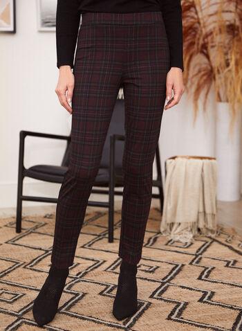Pantalon tartan à enfiler à jambe étroite, Rouge,  automne hiver 2020, pantalon, pull-on, à enfiler, taille élastique, à enfiler, jambe étroite, pinces, motif, tartan, carreaux, carreauté
