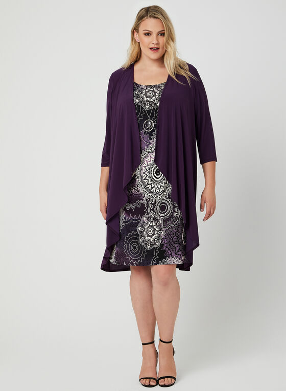 Printed Jersey Dress With Duster, Purple, hi-res