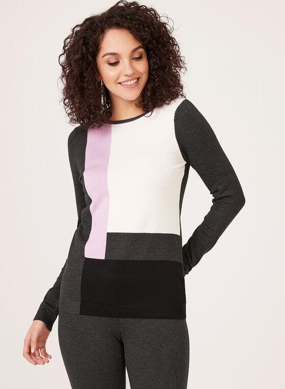 Pull en tricot à blocs de couleurs, Gris, hi-res