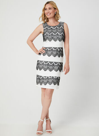 Lace Trim Pleated Dress, Black, hi-res,  charleston dress, lace dress, pleated dress, shutter pleats