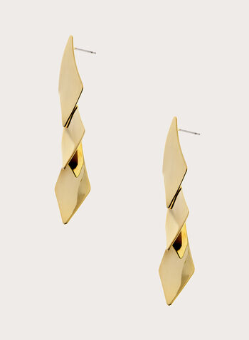 Geometric Dangle Earrings, Gold, hi-res
