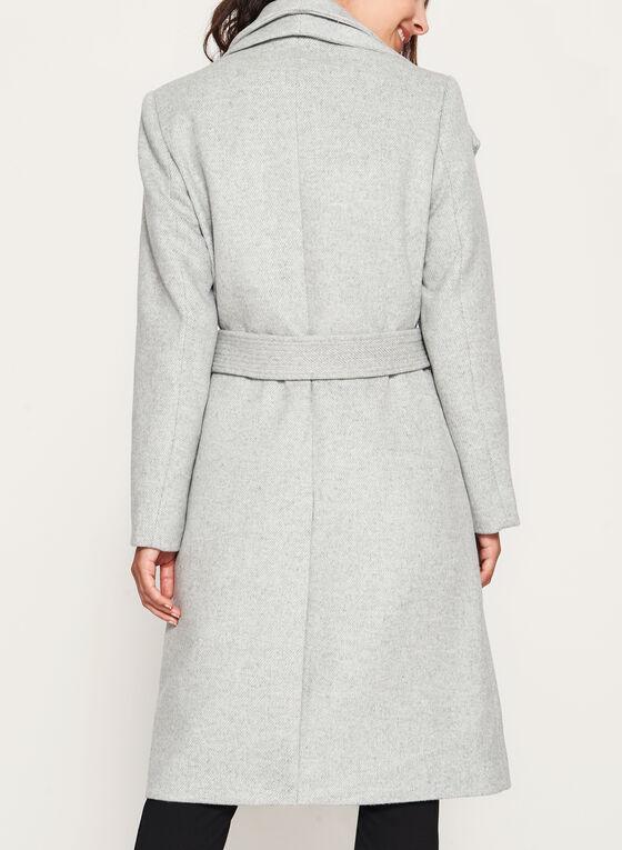 Wool Blend Wrap Coat, Grey, hi-res