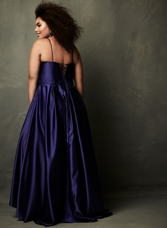 High-Low Satin Ball Gown, Blue, hi-res