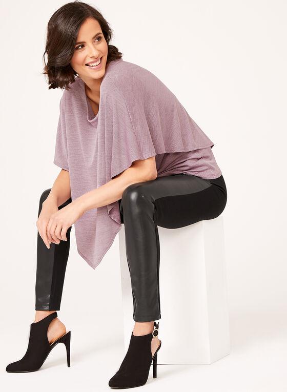 Blouse poncho superposée en tricot, Violet, hi-res