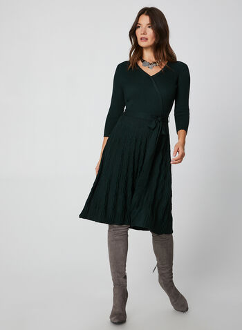 Belted Sweater Dress, Green, hi-res,  3/4 sleeves, sweater, knit, sweater dress, dress, belt, comfortable, holiday, fall 2019, winter 2019