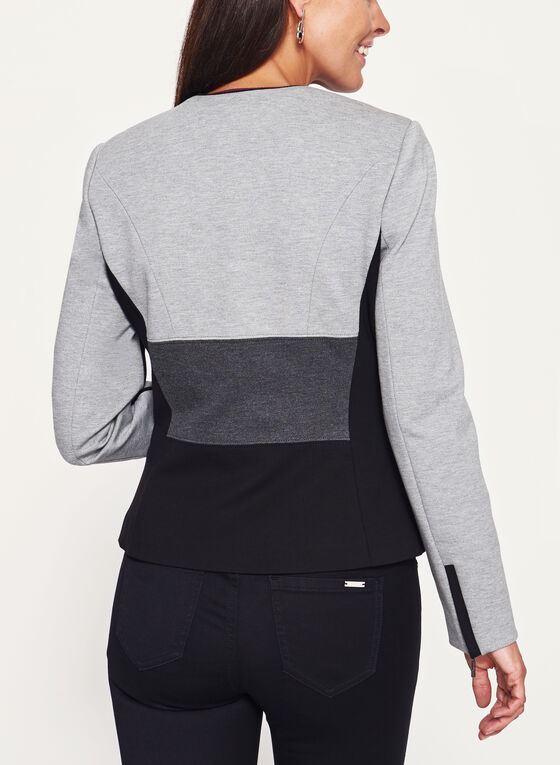 Colour Block Zipper Trim Ponte Jacket, Black, hi-res