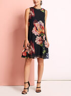 Floral Print Chiffon Trapeze Dress, Black, hi-res