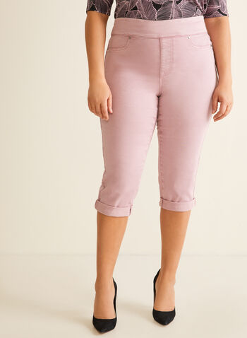 Denim Pull-On Capri Pants, Purple,  capri, pull-on, denim, straight leg, cuffed hem, stretchy, spring summer 2020