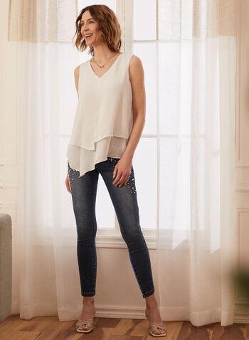 Sleeveless Layered Crepe Blouse, Off White,  blouse, sleeveless, layered, crepe, v-neck, spring summer 2020