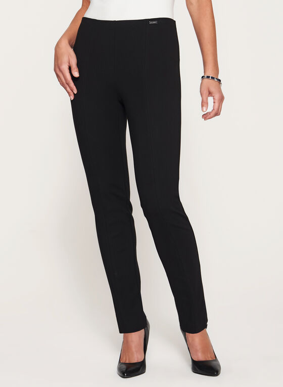City Fit Slim Leg Ponte Pants, Black, hi-res