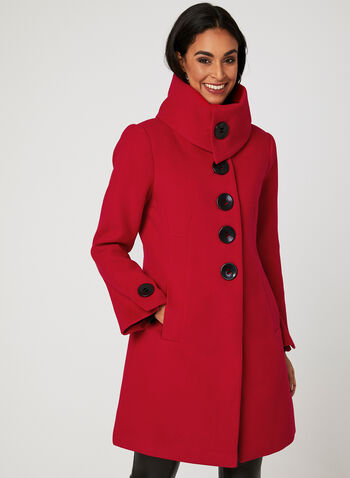 Envelope Collar Coat, Red, hi-res