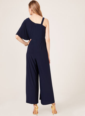 One Shoulder Wide Leg Jumpsuit, Blue, hi-res