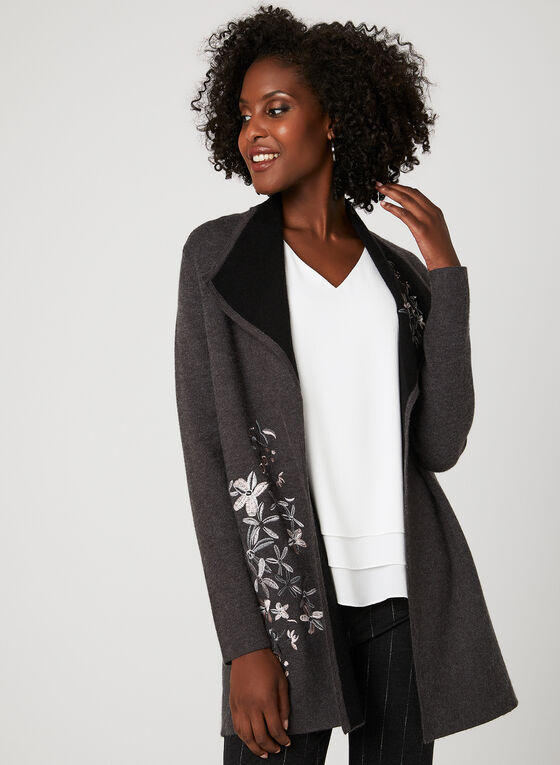 Floral Embroidered Cardigan, Grey, hi-res