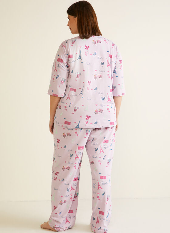 Paris Print Pyjama Set, Purple