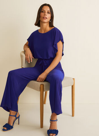 Batwing Sleeve Jumpsuit, Blue,  jumpsuit, batwing sleeves, sash, elastic waist, scoop neck, jersey, wide leg, spring summer 2020