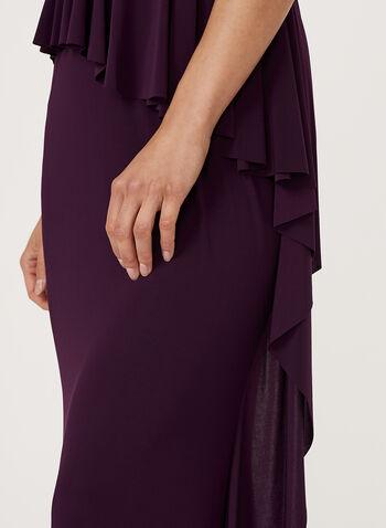 Robe au corsage en dentelle et sequins et effet drapé, Violet, hi-res