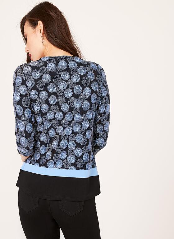 Haut manches ¾ et motif géométrique, Bleu, hi-res