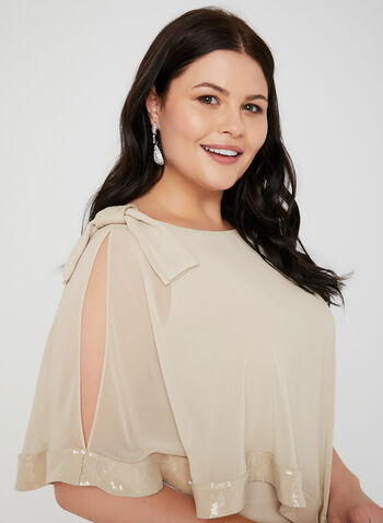 Joseph Ribkoff - Sequin Trim Poncho Blouse, Off White, hi-res